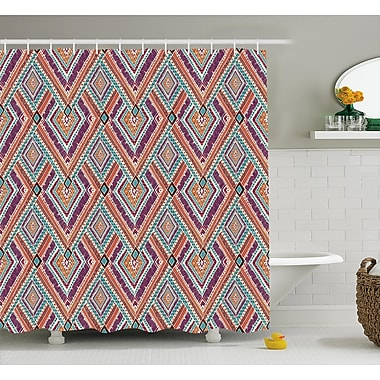 Cecilia Tribal Native American Retro Diagonal Ethno Pattern w/ Geometric Shapes Art Shower Curtain