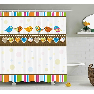 Valentines Day Cute Chubby Birds w/ Colored Hearts and Stripes Abstract Dots Image Shower Curtain