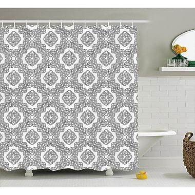 Rebecca Geometric Diagonal Symmetrical Binding Cross Knots Motif Retro Illustration Shower Curtain