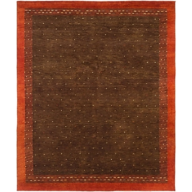 World Menagerie Jaidyn Wool Hand-Knotted Brown Area Rug