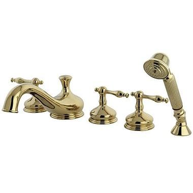 Elements of Design Heritage Double Handle Deck Mount Roman Tub Faucet; Polished Brass
