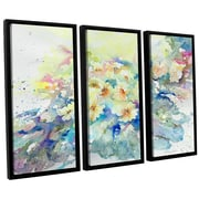 Latitude Run Primroses 2013 3 Piece Framed Painting Print Set; 24'' H x 36'' W x 2'' D