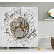 Chandler An Alarm Clock w/ Clouds and Buildings Around It Pattern Decorative Design Shower Curtain