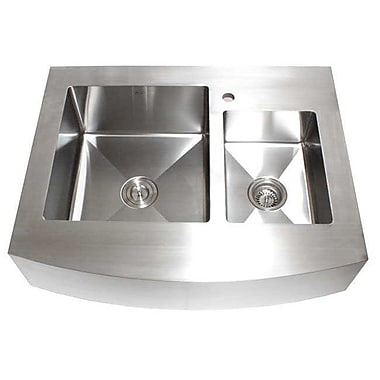 eModern Decor Ariel 36'' x 26.25'' Stainless Steel 60/40 Double Offset Bowl Farmhouse Kitchen Sink