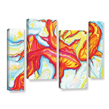 Latitude Run Swirling Koi 4 Piece Painting Print on Wrapped Canvas Set; 24'' H x 36'' W x 2'' D