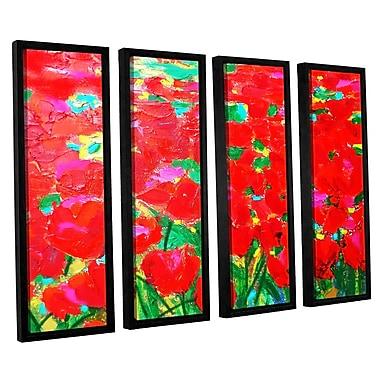 Latitude Run Knee Deep In Roses 4 Piece Framed Painting Print Set; 36'' H x 48'' W x 2'' D