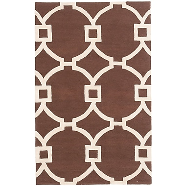 Everly Quinn Sherly Hand-Tufted Dark Brown Area Rug