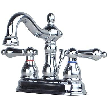 BuildersShoppe Centerset Bathroom Faucet Double Handle w/ Drain Assembly; Chrome