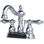 BuildersShoppe Centerset Bathroom Faucet Double Handle w/ Drain Assembly; Chrome