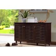 Darby Home Co 12-Pair Espresso Shoe Storage Cabinet