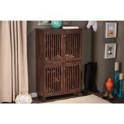 Darby Home Co 18-Pair Oak Shoe Storage Cabinet