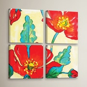 Red Barrel Studio Conquelicots Trois 4 Piece Painting Print on Wrapped Canvas Set