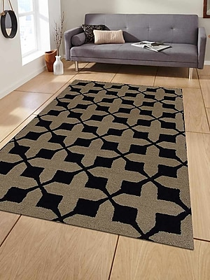 Get My Rugs Hand-Tufted Beige/Black Area Rug; Rectangle 8'x10'