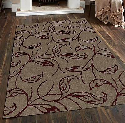 Get My Rugs Hand-Tufted Beige/Red Area Rug; Round 8'
