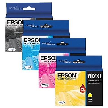 Epson T702 High Capacity Black and Standard Capacity Cyan/Magenta/Yellow Ink Cartridge Combo Pack (T702X-BCS)