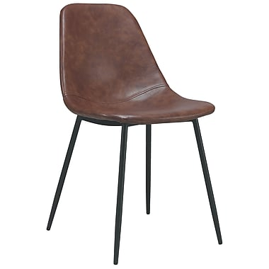 Cathay Importers Vintage Faux Leather Chair with Steel Legs, Brown, 2/Pack