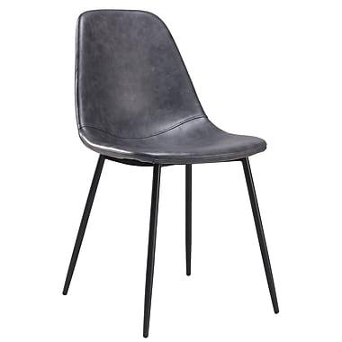 Cathay Importers – Chaise d'appoint en similicuir de style ancien avec pattes en acier, gris, paq./2