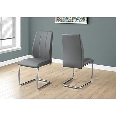 Monarch – Chaise de salle à manger I-1077, 2 pièces, 39 haut. (po), similicuir gris, chrome