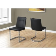 """Monarch I 1083 Dining Chair - 2pcs, 34""""H, Black Leather-look, Chrome"""