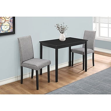 Monarch I 1016 Dining Set - 3pcs Set, Black Grey, Linen Parson Chairs