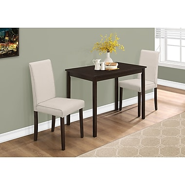 Monarch I 1017 Dining Set - 3pcs Set, Cappuccino, Beige Linen Chairs