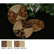 Pacific Table Linens Illusions Wine Glass Coaster (Set of 2); Graphite / Light Gold