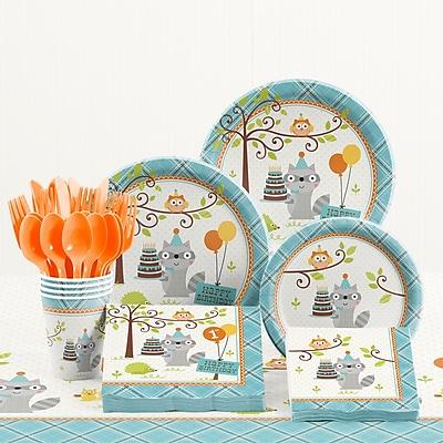 Creative Converting 81 Piece Happi Woodland Boy 1st Birthday Plastic/Paper Tableware Set WYF078281158238