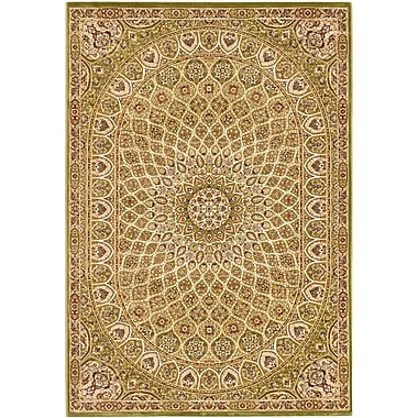 World Menagerie Casen Emerald green/Brown Area Rug; 5'3'' x 7'7''