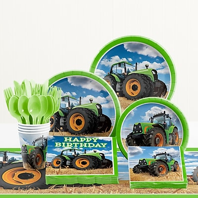 Creative Converting 81 Piece Tractor Time Birthday Paper/Plastic Tableware Set WYF078281158271