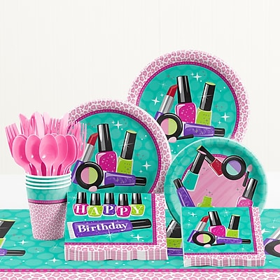 Creative Converting 81 Piece Sparkle Spa Party Birthday Paper/Plastic Tableware Set WYF078281158285