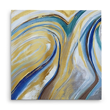 Willa Arlo Interiors 'Agate & Gold I' Acrylic Painting Print on Canvas; 16'' H x 16'' W x 1.5'' D