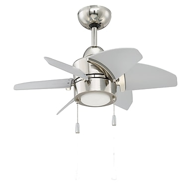 Williston Forge 24'' Saito 6 Blade Fan; Polished Nickel with Brushed Nickel Blades