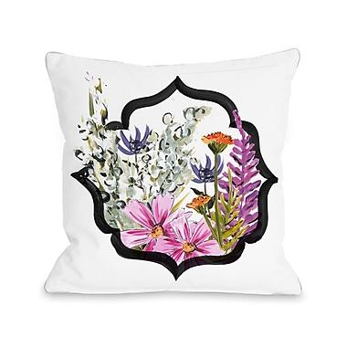August Grove Mendoza Framed Florals Throw Pillow; 16'' H x 16'' W x 3'' D