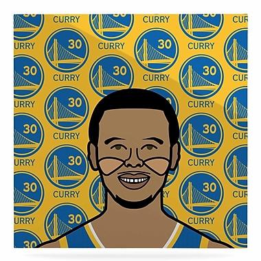 KESS InHouse Sports 'Steph Curry' Graphic Art Print on Metal; 8'' H x 8'' W x 1'' D