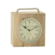 Charlton Home Wood and Metal Tabletop Clock