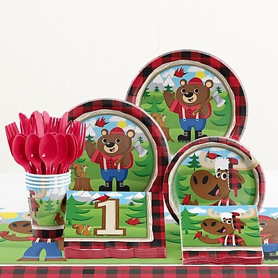 Creative Converting 81 Piece Lum-Bear Jack 1st Birthday Paper/Plastic Tableware Set WYF078281158250