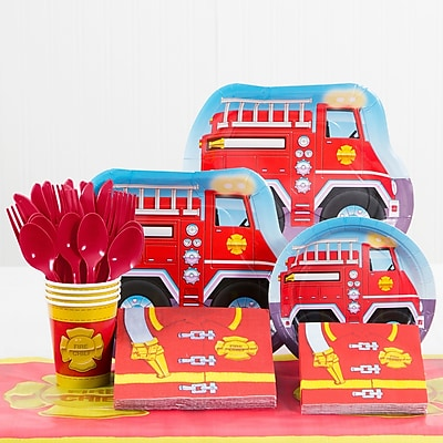 Creative Converting 81 Piece Firefighter Birthday Paper/Plastic Tableware Set WYF078281158264