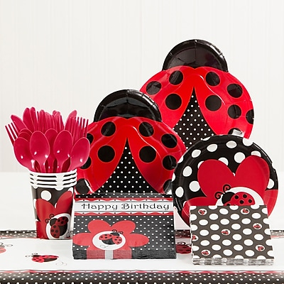 Creative Converting 81 Piece Ladybug Fancy Birthday Paper/Plastic Tableware Set WYF078281158280