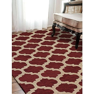 Alcott Hill Billings Hand-Tufted Wool Red/Beige Area Rug