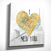 Latitude Run 'I Love NY Map' Graphic Art Print on Wrapped Canvas; 16'' H X 16'' W x 1.5'' D
