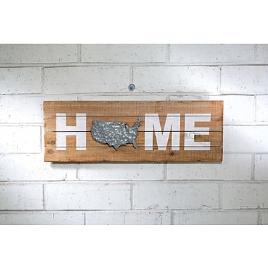 August Grove Wooden Home Sign w/ U.S. Outline Wall D cor