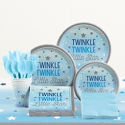 Creative Converting 81 Piece One Little Star Boy Birthday Plastic/Paper Tableware Set WYF078281158241