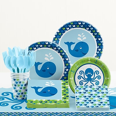 Creative Converting 81 Piece Ocean Preppy Birthday Tableware Set WYF078281158247