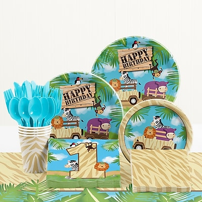 Creative Converting 81 Piece Safari Adventure 1st Birthday Paper/Plastic Tableware Set WYF078281158254