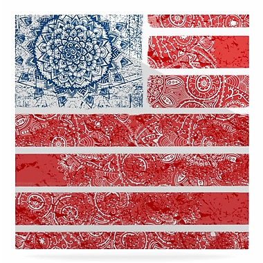 East Urban Home 'Americana Mandala Flag' Graphic Art Print on Metal; 8'' H x 8'' W x 1'' D