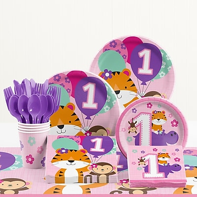 Creative Converting 81 Piece One Is Fun Girl 1st Birthday Paper/Plastic Tableware Set WYF078281158233