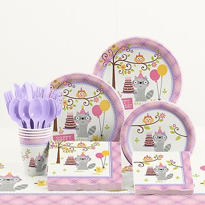 Creative Converting 81 Piece Happi Woodland Girl Birthday Paper/Plastic Tableware Set WYF078281158235