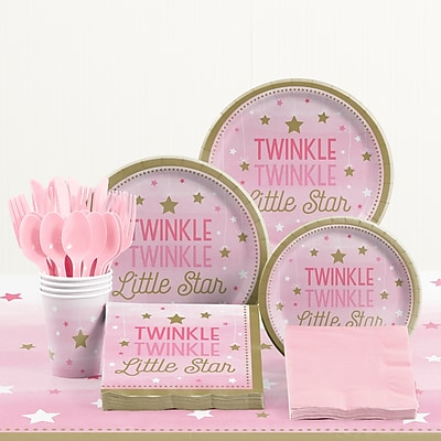 Creative Converting 81 Piece One Little Star Girl Birthday Plastic/Paper Tableware Set WYF078281158239