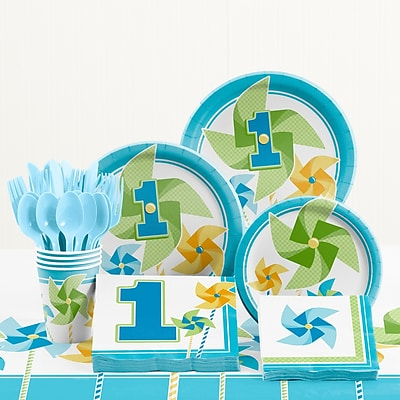 Creative Converting 81 Piece Turning One Boy 1st Birthday Plastic/Paper Tableware Set WYF078281158244