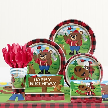 Creative Converting 81 Piece Lum-Bear Jack Birthday Paper/Plastic Tableware Set